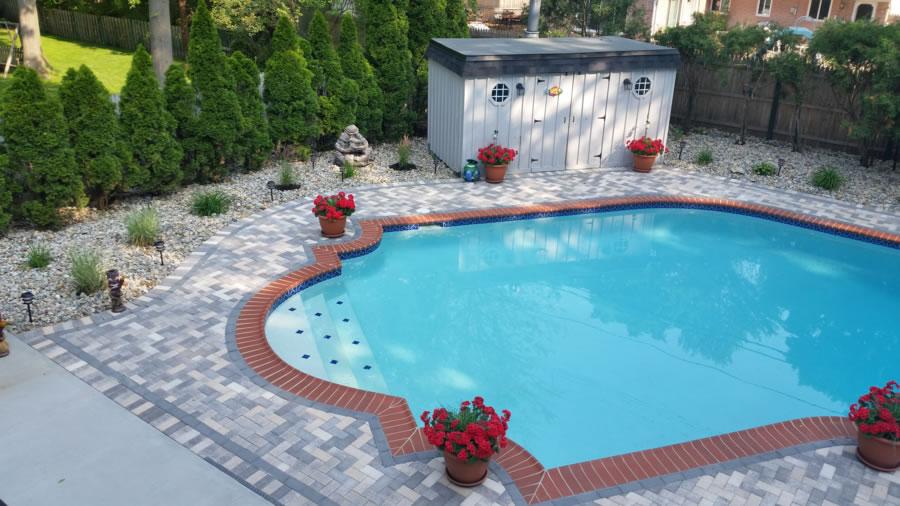 Macomb County Brick Paver Pool Deck